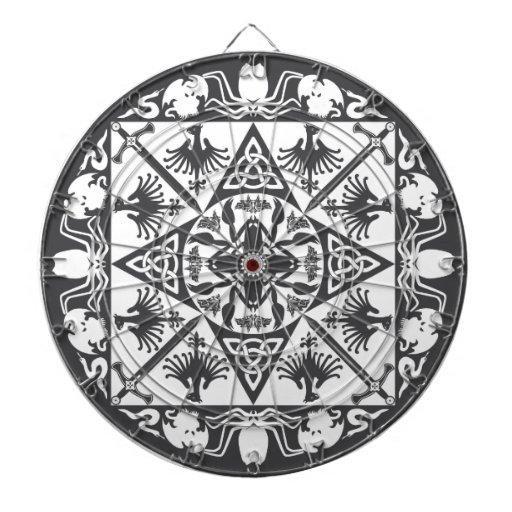Dartboard medieval céltico blanco negro de la fant