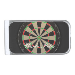 Dartboard Monogram Name Silver Finish Money Clip