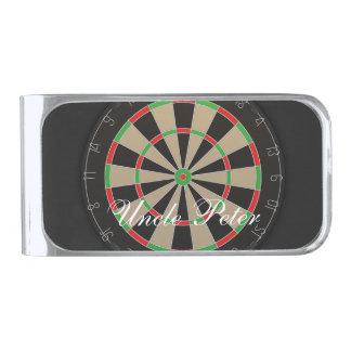 Dartboard Monogram Name Silver Finish Money Clip