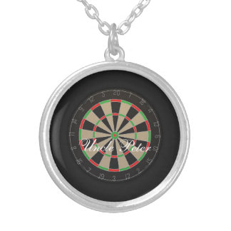 Dartboard Monogram Name Silver Plated Necklace