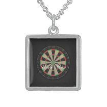 Dartboard Monogram Name Sterling Silver Necklace