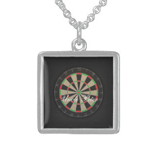 Dartboard Monogram Name Sterling Silver Necklace