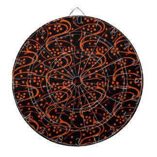 Dartboard negro anaranjado de los remolinos floral tablero dardos