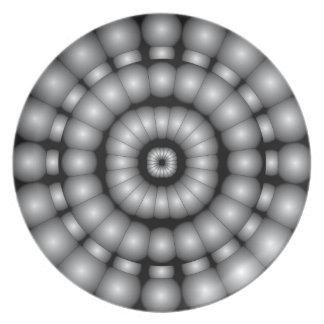 Dartboard psicodélico de las esferas plato de comida