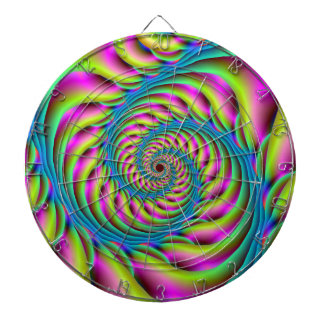 Dartboard  Spiral in Pink Turquoise and Yellow