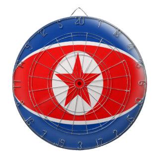 Dartboard with 6 darts North Korea flag