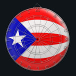 "Dartboard with 6 darts Puerto Rico flag<br><div class=""desc"">This lovely bubble flag has been based on the original flag. It&#39;s the regulation size (18 inch diameter &amp; 1 inch thick) Add you get a set of 6 brass darts (3 American flag dart flights and 3 UK dart flights). The aluminum frame has all the numbers built into it...</div>"
