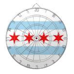 Dartboard with Flag of Chicago, Illinois, USA