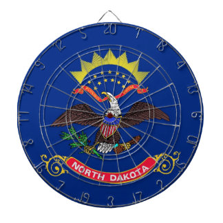 Dartboard with Flag of North Dakota, USA