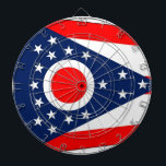 """Dartboard with Flag of Ohio, USA<br><div class=""""desc"""">Patriotic dartboard with Flag of Ohio State,  United States of America. This product its customizable.</div>"""