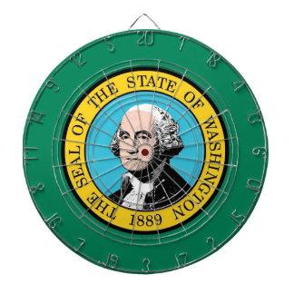 Dartboard with Flag of Washington, USA