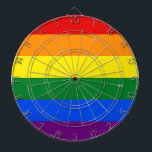 """Dartboard with LGBT Rainbow Pride Flag<br><div class=""""desc"""">Dartboard with LGBT Rainbow Pride Flag. This product its customizable.</div>"""