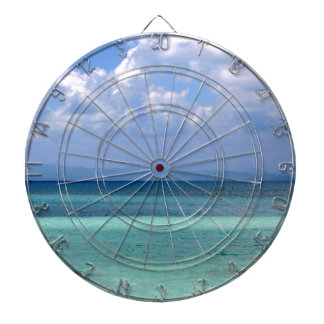 dartboard with photo of Belize coastline