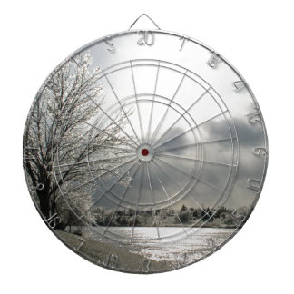 dartboard with photo of icy winter landscape