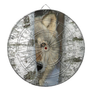 dartboard with pic of gray wolf in birch trees