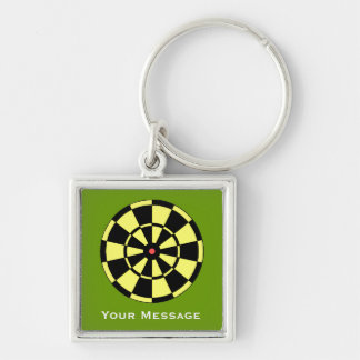 Dartboard Yellow Black Luggage Laptop Baggage Tag Silver-Colored Square Keychain