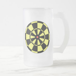 Dartboard Yellow Black Red Bullseye Frosted Glass Beer Mug