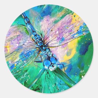 Darter Azul-Con alas Pegatina Redonda