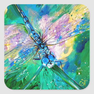 Darter Azul-Con alas Pegatina Cuadrada