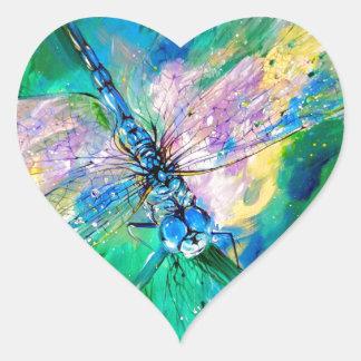 Darter Azul-Con alas Pegatina En Forma De Corazón