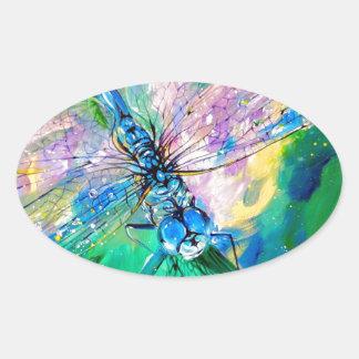 Darter Azul-Con alas Pegatina Ovalada