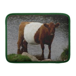 Dartmoor Belted Galloway Cow Standing River MacBook Sleeve