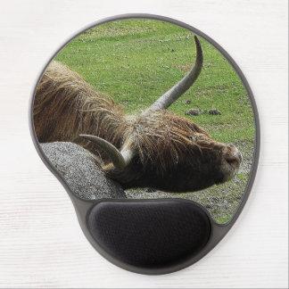 Dartmoor Highland Cow Rubbing On Rock Gel Mouse Pad
