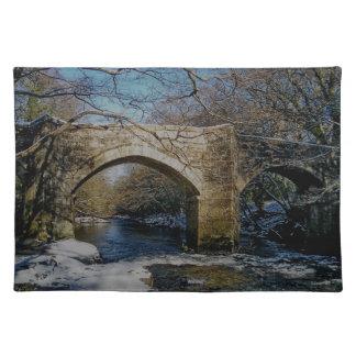 Dartmoor Holne New Bridge River Dart Winter Scene Cloth Placemat