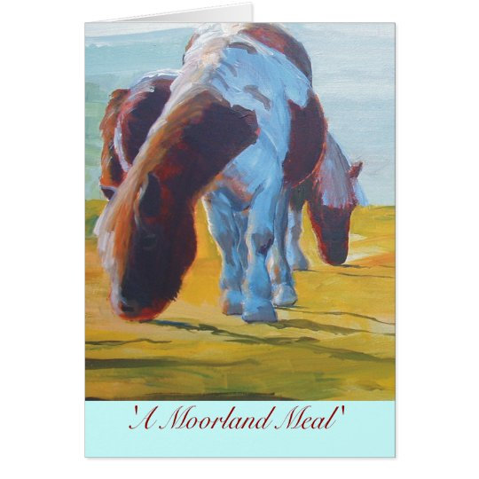Dartmoor miniature ponies painting misty landscape card