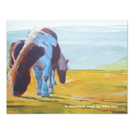 Dartmoor miniature ponies painting misty landscape card