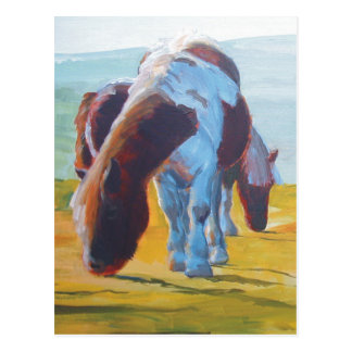 Dartmoor miniature ponies painting misty landscape post cards