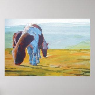 Dartmoor miniature ponies painting misty landscape print