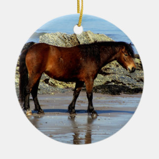 Dartmoor on remote beach in south devon Double-Sided ceramic round christmas ornament