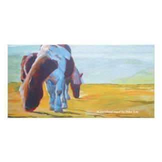 Dartmoor Ponies & Misty Landscape painting Card