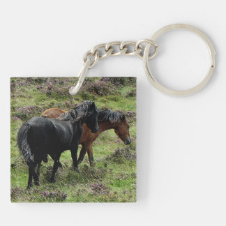 Dartmoor Ponies Roaming Grazeing Summer Keychain