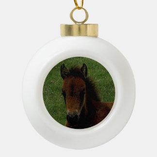 Dartmoor Pony Foal Resting Ceramic Ball Christmas Ornament