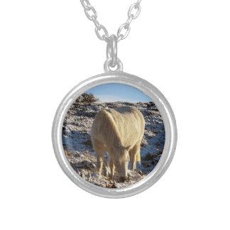 Dartmoor Pony Grazeing In Snow Round Pendant Necklace