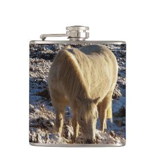 Dartmoor Pony Grazing In Snow Hip Flasks