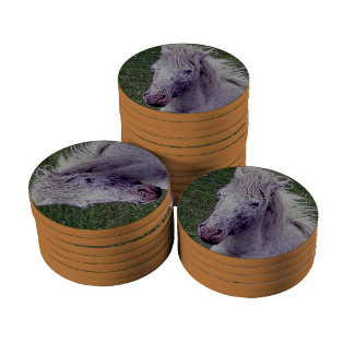 Dartmoor Pony Grey Mare Resting Poker Chip Set