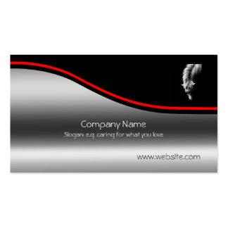 Dartmoor Pony Portrait, red swoosh, metallic-look Business Card