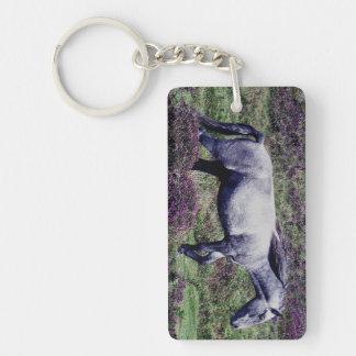 Dartmoor Pony Roaming In The Heather Single-Sided Rectangular Acrylic Keychain