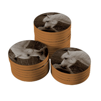 Dartmoor Pony Rubbing Mouth On Rock Sepia Poker Chip Set