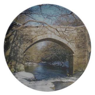 Dartmoor River Dart Holne New Bridge Winter Dinner Plate