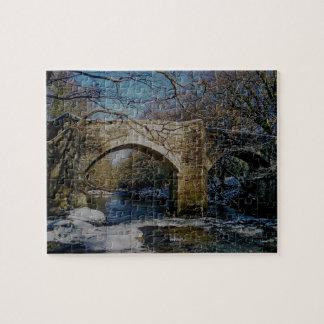 Dartmoor River Dart Holne New Bridge Winter Jigsaw Puzzle