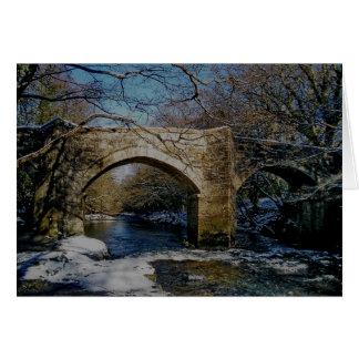 Dartmoor river dart Holne new bridge winter scene Card