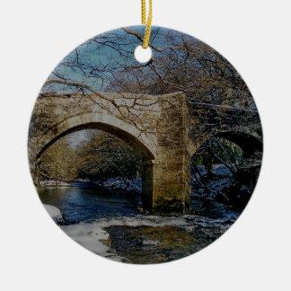 Dartmoor river dart Holne new bridge winter scene Ceramic Ornament