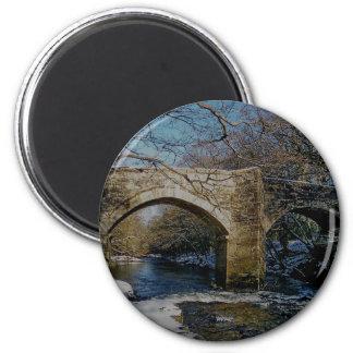 Dartmoor river dart Holne new bridge winter scene Magnets