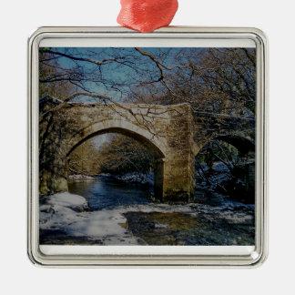 Dartmoor river dart Holne new bridge winter scene Metal Ornament