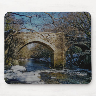 Dartmoor river dart Holne new bridge winter scene Mouse Pad