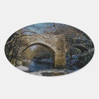 Dartmoor river dart Holne new bridge winter scene Oval Sticker